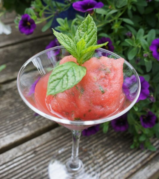 Delicious watermelon, mint and vodka sorbet