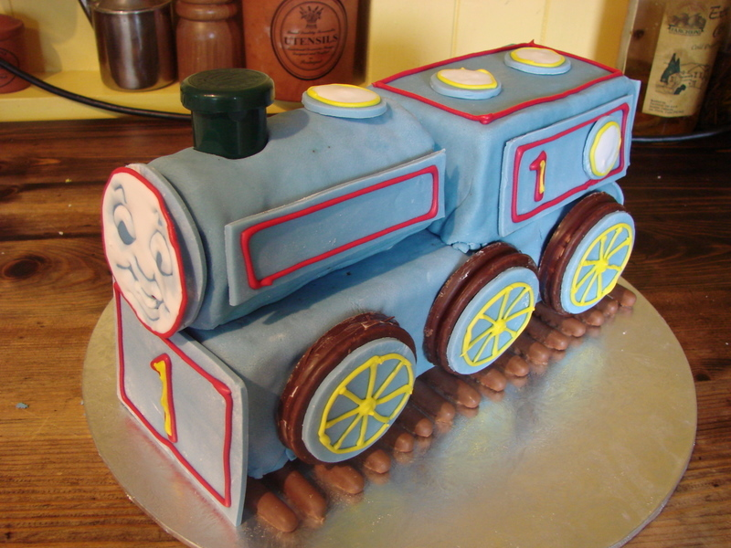 My effort at a Thomas the tank cake for my godson!