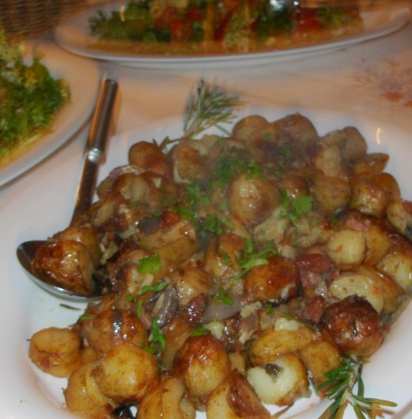 New potatoes roasted with rosemary, galric and red onions