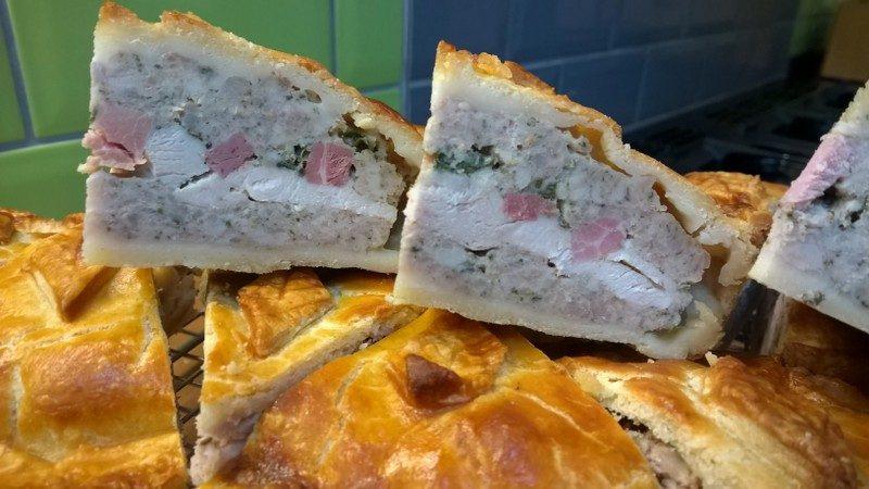 Gloucester old spot pork, chicken and ham pie