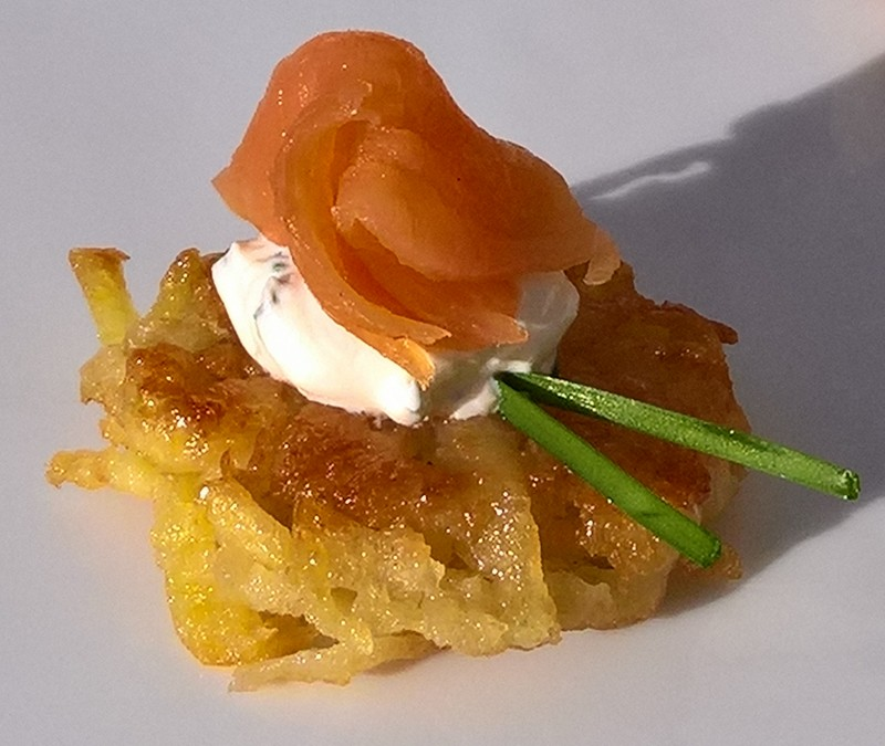 Mini latkes with smoked trout and sour cream