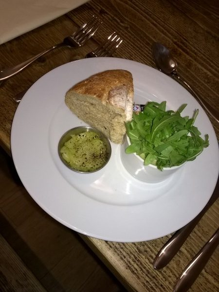 Smoked makeral pate with marinated cucumber salad and wholemeal bread chunk!