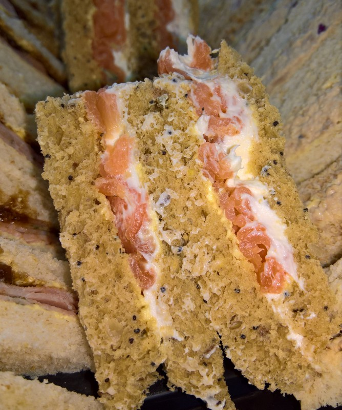 Smoked salmon and cream cheese wholemeal sandwich