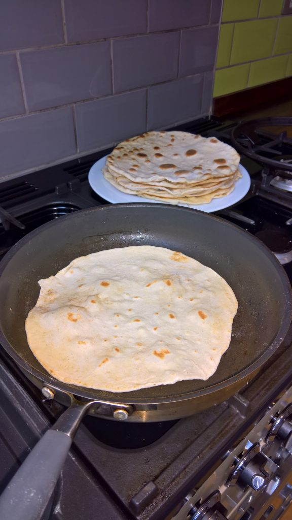 Making tortilla for fajhitas