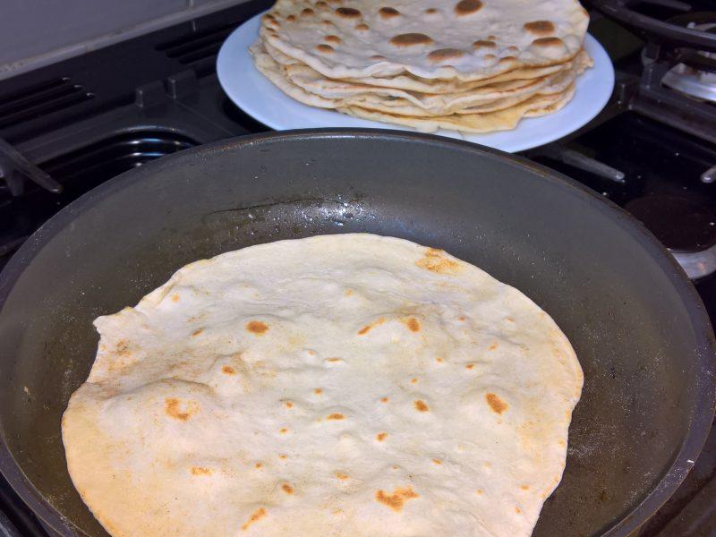 Making tortilla for fajhitas