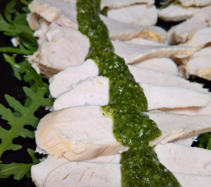 Poached free range chicken with basil pesto