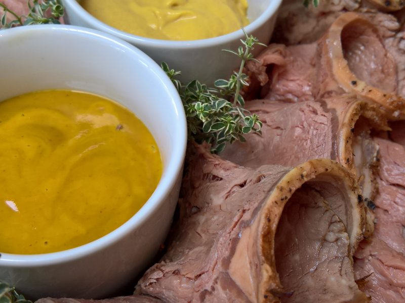 Roast sirloin of beef with mustard selection
